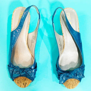 me too Shoes - Me Too Payton2 Blue Leather Cork Heel Sandals 8.5M